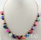 Rhombus Shape Multi Color Burst Pattern Agate Necklace with Metal Chain