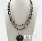 Multi Strands Indidan Agate Necklace with Metal Chain