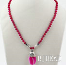 Rosy Red Agate Necklace with Lobster Clasp