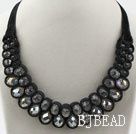 Fashion Style Clear Crystal and Black Velvet Ribbon Woven Bib Necklace