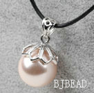 Classic Design Round Shape 16mm Nude Color Seashell Pendant Necklace under $2.5