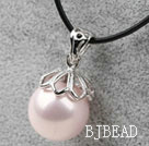 Classic Design Round Shape 16mm Baby Pink Seashell Pendant Necklace under $2.5