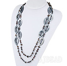 fashion long style pearl shell crystal necklace