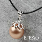 Classic Design Round Shape 16mm Golden Champagne Color Seashell Pendant Necklace