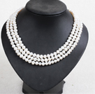 Fashion Party Style 3 Strand Natural 7-8mm White Pearl Necklace With Shell Flower Clasp