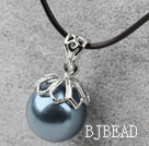 Classic Design Round Shape 16mm Blue Black Seashell Pendant Necklace