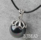 Classic Design Round Shape 16mm Black with Colorful Seashell Pendant Necklace under $2.5