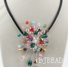 Assorted Multi Color Crystal Flower Necklace under $ 40