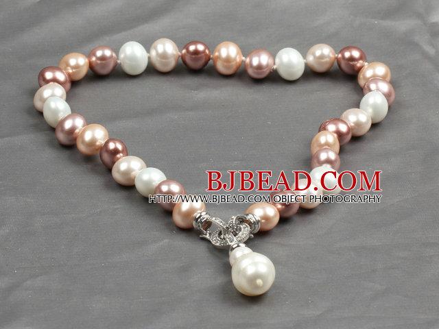 Classic Design Multi Color Potato Shape Seashell Pendant Necklace(Pendant Can Be Removed)