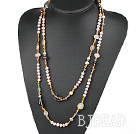 Long Style Pink Freshwater Pearl and Crystal and Multi Stone Necklacr
