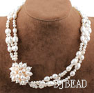 New Design Three Strands Natural White Freshwater Pearl Bridal Necklace