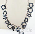 New Design Hollow Black Shell Necklace with Metal Chain under $ 40