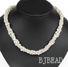 Classic Design Four Strands White Freshwater Pearl and White Crystal Necklace