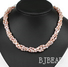 Classic Design Four Strands Purple Freshwater Pearl and White Crystal Necklace