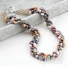 Classic Design Four Strands Multi Color Baroque Pearl and Crystal Necklace