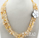 Three Strands Fillet Citrine Chips Necklace with Shell Flower Clasp under $ 40