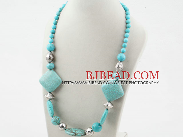 Single Strand Assorted Turquoise Necklace with Moonlight Clasp