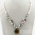 White Freshwater Pearl and Indian Agate Pendant Necklace