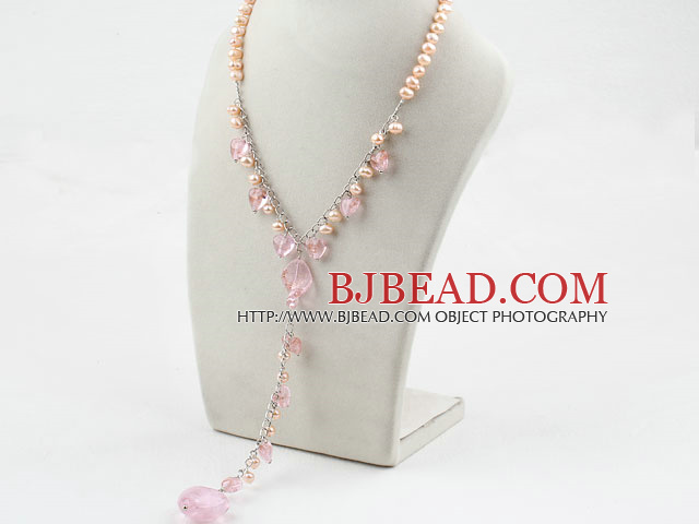 Pink Freshwater Pearl and Pink Colored Glaze Y Shape Necklace