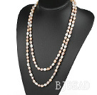 Long Style White Pink Purple Color Freshwater Pearl Beaded Necklace