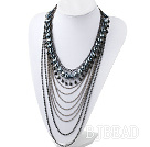 Fashion Style Multi Layer Black Crystal and Hematite Statement Necklace with Metal Chain under $ 40