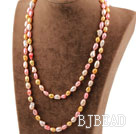 Long Style Pink Red Golden Color Freshwater Pearl Beaded Necklace