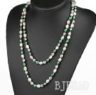 Lang Stijl Wit Groen Gary Color Freshwater Pearl kralen ketting