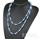 Long Style White Blue Color Freshwater Pearl Beaded Necklace