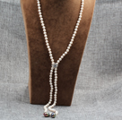 Long Style Y Shape Natural White Freshwater Pearl Necklace with Black Nuclear Pearl Charm