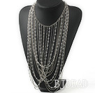 New Style Fashion Design Clear Crystal and Metal Chain Party Statement Necklace under $ 40