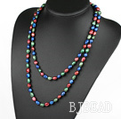 Long Style Red Blue Green Color Freshwater Pearl Beaded Necklace