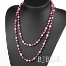 Long Style Purple Red Color Freshwater Pearl Beaded Necklace