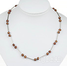 Classic Design Golden Brown Color Freshwater Pearl Tin Cup Necklace with Lobster Clasp under $ 40