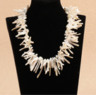 Long Teeth Shape White Shell and Woven Shape Black Agate Necklace