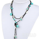 Free Style Turquoise and White Freshwater Pearl Long Style Necklace under $ 40