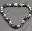 Fashion Single Strand 12Mm Whilte Black Grey Round Seashell Beads Necklace With Rhinestone Magnetic Clasp