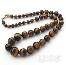 Single Strand Round Tiger Eye Graduated Beaded Necklace under $ 40