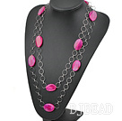 vogue party jewerly pink agate necklace with metal loops under $ 40
