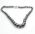 Elegant Design Grey Black Seashell Graduated Beaded Necklace