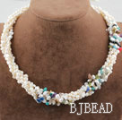 Five Strands White Freshwater Pearl and Multi Color Chips Necklace