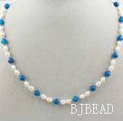 Single Strand White Freshwater Pearl and Round Blue Agate Beaded Necklace