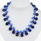 New Design Blue Color Drop Shape Crystal Necklace with Extandable Chain under $ 40