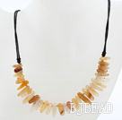 Simple Style Yellow Crystal Quartz Necklace with Black Thread