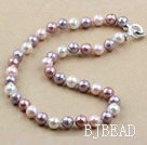 Clssic Design 10mm Faceted Round Four Different Color Seashell Beaded Necklace