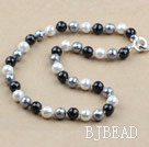Clssic Design 1Omm Faceted Round White and Black Seashell Beaded Necklace