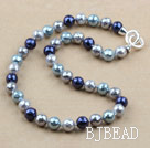 Clssic Design 10mm Faceted Round Three Different Color Seashell Beaded Necklace