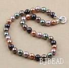 Clssic Design 10mm Faceted Round Five Different Color Seashell Beaded Necklace