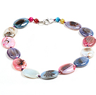 Beautiful Fashion Multi Color Oval Shape Fire Agate Chunky Necklace