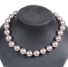 Charming Style Pretty 16mm Round Gray Seashell Beads Choker Necklace With Rhinestone Clasp