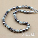 Clssic Design 12mm Faceted Round Four Different Color Seashell Beaded Necklace